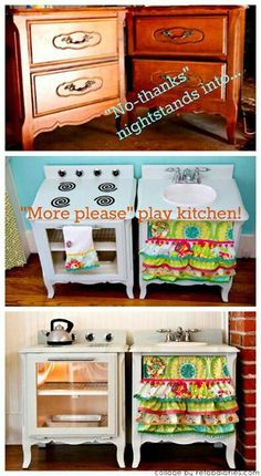 Upcycle: Old nightstands into a play kitchen! Old nightstands into a play kitchen! I LOVE these DIY play kitchens.I think they are a million bajillion times cuter than any Fisher Price set! Play Kitchens, Diy For Kids, Crafts For Kids, Diy Crafts, Music Crafts, Easter Crafts, Repurposed Furniture, Refurbished Furniture, Play Houses