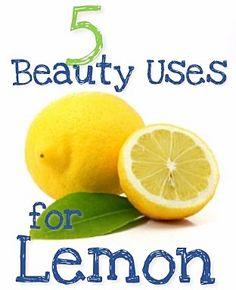 1. Treat Blackheads with Lemon  2. Lemon as a Toner  3. Whiten Nails with Lemon  4.  Lemon to Treat Acne  5. Lemon for Shiny Hair