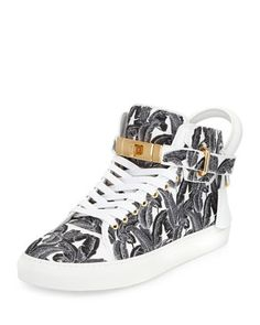 100mm Palm High-Top Sneaker, Black/White by Buscemi at Neiman Marcus.