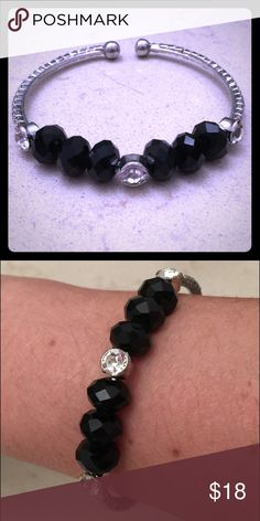 🎀new cuff silver bracelet black and crystals 🎀 Brand new fashion cuff bracelet bachigs Jewelry Bracelets