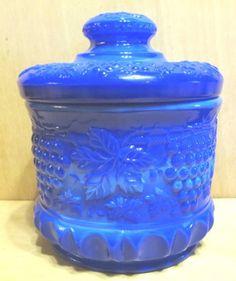 2e1ba1936dbf Fenton-9188-P2-Periwinkle-Blue-Grape-Cable-Tobacco-Cracker-Candy-7-Jar-2004.  Sweetwater Farms