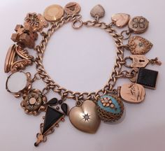 Antique Victorian Gold Filled Enamel Intaglio Locket Fob Charm Bracelet | eBay