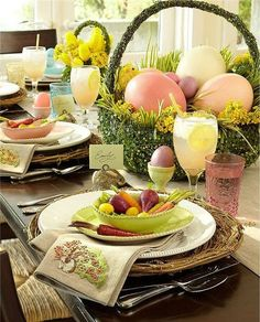 Easter Brunch or dinner place setting tablescape. Large dyed Easter eggs in a mossy green grass basket. Easter Table Settings, Easter Table Decorations, Decoration Table, Easter Centerpiece, Easter Decor, Centerpiece Ideas, Table Centerpieces, Easter Ideas, Hoppy Easter