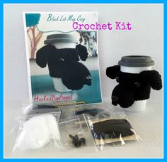 CROCHETING KIT Black Lab Mug Cozy Crochet Pattern by HookedbyAngel