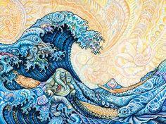 "SINCRONIA: AMPLIAR LA PERCEPCIÓN - magen: Hokusai·The Great Wave (Randal Roberts Remix) by Randal Roberts,  : : : : : :acrílico sobre lienzo, 40"" x 30"", 2015-16"