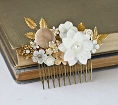 Bridal Hair Comb  Wedding Hair Comb Gold White Flower by lonkoosh, $95.00