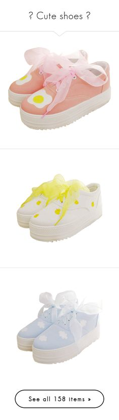 """♡ Cute shoes ♡"" by na-ri ❤ liked on Polyvore featuring shoes, shoes - sneakers, egg, pink shoes, ruffled shoes, flat heel shoes, flat shoes, flat pumps, flat pump shoes and sneakers"