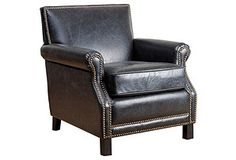 Lawrence Club Chair, Black Leather - $465