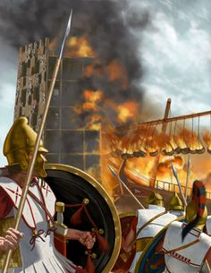 Phoenician's ships burning the Macedonian's siege towers at Tyre - Alexander the Great (Alexander of Macedon) Biography Classical Greece, Classical Antiquity, Alexander The Great, Greek History, Ancient History, Alexander Of Macedon, Greco Persian Wars, Alexandre Le Grand, Punic Wars