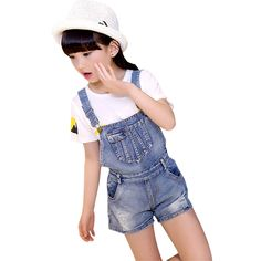 21.11$  Buy here - Children Clothing Sets For Girls Outfits Denim Overalls & White T-Shirts 2 Pcs Cotton Summer Kids Tracksuits Girls Shorts 4-12Y  #aliexpressideas