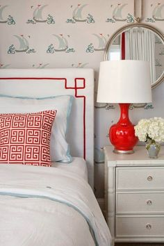Love the wallpaper! House of Turquoise: Liz Carroll Interiors Bedroom Red, Home Bedroom, Bedroom Decor, Nautical Bedroom, Greek Bedroom, Bedroom Ideas, House Of Turquoise, Red Turquoise, Headboard Shapes