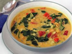 Curried Coconut Chickpea soup. Too bad I am already cooking, I want to try this right now! This website has lots of veggie family friendly recipes.