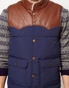 ASOS Gilet Puffer Vest (Faux Leather)