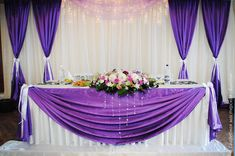 violet wedding head table