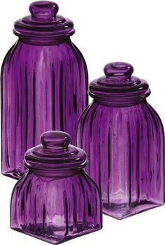 Purple Glass Jar Set by Evergreen Enterprises.I am crazy for colored glass, especially this gorgeous purple which you hardly ever see! Purple Love, Purple Glass, All Things Purple, Shades Of Purple, Deep Purple, Purple Stuff, Purple Candy, Cobalt Glass, Purple Hues