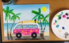 Learn how to paint a fun beach van in this free painting tutoriail. Included is a traceable of the beach van, full picture directions, video and materials list. Canvas Painting Tutorials, Acrylic Painting For Beginners, Step By Step Painting, Diy Painting, Beach Canvas Paintings, Cute Paintings, Acrilic Paintings, Simple Acrylic Paintings, 3d Drawing Tutorial