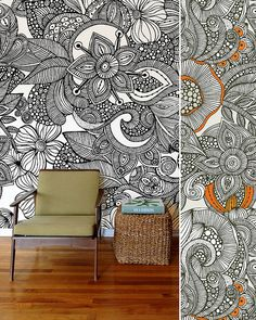 Wall art....big and kind of zentangl-ish..I'd like to do this for a party and keep out with markers. ' ask guests to color it in.
