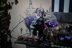 Spooky desserts at a Maleficent birthday party! See more party planning ideas at CatchMyParty.com!