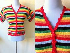 Mexican inspired striped cardigan (small to medium) by VintageHomage