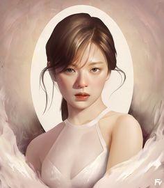 Digital Art Girl, Digital Portrait, Portrait Art, Painting Portraits, Girls Anime, Anime Art Girl, Twice Fanart, Yoo Ah In, Chaeyoung Twice