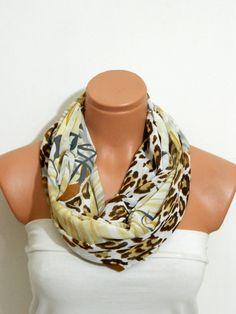 Women Fashion scarf Infinity Scarf,Loop Scarf,Circle Scarf,Brown, Mustard Leopard Pattern chiffon fabric Scarf,Nomad Cowl. Leopard Pattern,