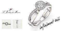 INFINIMENT OUII au corps de bague torsadé est en Or 18 carats ou platine 950. Composé d'une pierre centrale d'environ 0.30 carat, (certifié GIA dans le cas du diamant), et entouré de 14 diamants et un corps de bague avec 8 diamants de chaque côté pour un poids total de 0.30 carat de qualité GSI1.