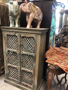 Wood Antique Indian Latticed Window Hand Made Wooden Armoire For Sale - Image 7 of 8 Armoire Dresser, Antique Armoire, Antique Doors, Blue Cabinets, Wooden Cabinets, Armoire For Sale, Clothes Drawer Organization, Antique Wardrobe