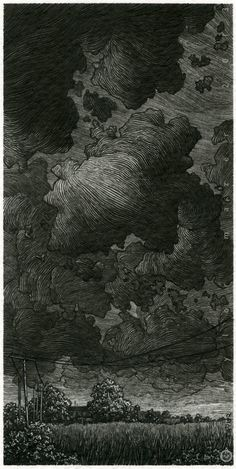 """Another Storm,"" 3 x 6 in, Pen and Ink, 2013 by Taylor Mazer"