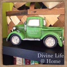 My Momma gave me a lil truck made in the likeness of Dorothy Gertrude !!!! It pretty much makes my day to see it on the shelf in The Divine Life Kitchen.  Let's put cherry tomatoes and micro greens in the back ;)) #ilovetrucks #divinelifeathome #divinelifekitchen #microgreens ;)) by divinelifeathome