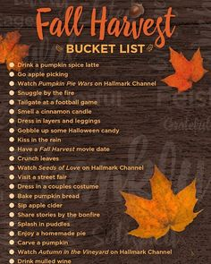 Celebrate the fall season with Hallmark Channel. Share your photos using #myfallpicks Visit our bio to download the full bucket list.