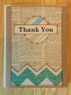 Thank You Card with Chevron and Page d'un Livre by Cindysnoopy, $3.50