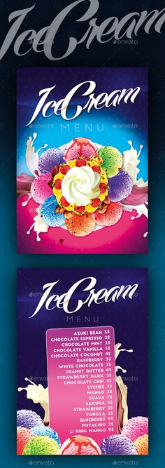 Ice Cream Menu Template #design Download: http://graphicriver.net/item/ice-cream-menu-ii/11039697?ref=ksioks
