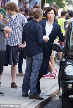 Benedict on set of Sherlock
