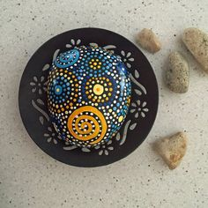 Painted Rock-Hand Painted Stone Mandala by etherealandearth