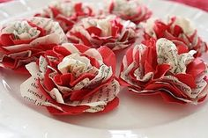 Book paper flowers -- these look SO much easier than all the other paper flower tutorials I've seen books, valentin book, tutorials, craft, valentine day, paper flowers, book pages, papers, flower tutorial