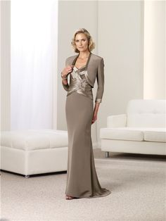 Slim Sweetheart Coffee Satin Chiffon Mother Of The Bride Evening Dress With Bolero Jacket
