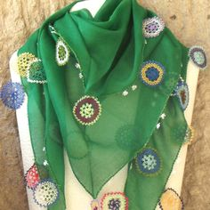 Turkish OYA Lace - Otantic scarf -Green by DaisyCappadocia on Etsy