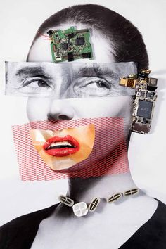 """Cellphone Head""–Hybrid Series by Zeren Badar Archival Print on metallic paper Art Du Collage, Collage Portrait, Digital Collage, 3d Portrait, Woman Portrait, Photography Collage, Portrait Photography, Inspiring Photography, Stunning Photography"