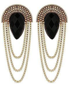 768ad2360e Fashion Black Gold Stylish Party Wear Earrings – Dista Cart Fancy Earrings,  Black Earrings,
