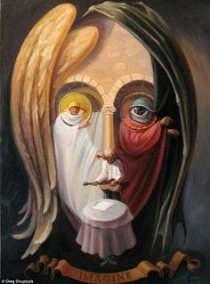 35 Mind-Twisting Optical Illusion Paintings By Oleg Shuplyak John Lennon Imagine Illusion Kunst, Illusion Art, Optical Illusion Paintings, Optical Illusions, 4k Photography, One Photo, Street Art, Art Du Monde, Double Image