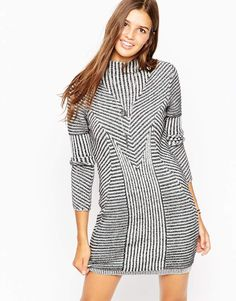 ASOS Dress In Plated Rib With Grown On Neck