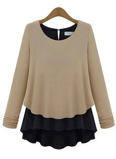 Khaki Long Sleeve Ruffles Chiffon Sweater US$23.28