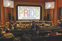 PRIDE Film Festival attendees take a break between films at the Buskirk-Chumley theater. Photo by Darryl Smith