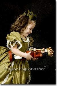 Clara Party Scene Dress for the Nutcracker - Part of Pegeen Classic flower girl dresses - shown in Olive Green