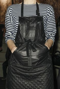 Leather overalls served best with stripes.