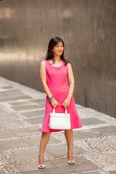 Look com vestido pink para trabalho