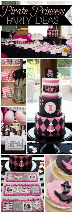 Love this pink and black pirate princess party! See more party ideas at CatchMyParty.com!