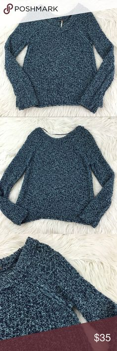 Free People Blue Marled Pullover Knit Sweater Gently used without flaws. Size small. 100% cotton. Perfect sweater for the winter or fall. Free People Sweaters Crew & Scoop Necks