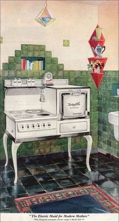 "1929 Hotpoint Range known as ""The Electric Maid for Modern Mothers."" When electric stoves were introduced, they offered competition to the more standard oil, gas and wood stoves. Electric stoves did not have soot or fumes. I love the cookbook shelf right over the stove."