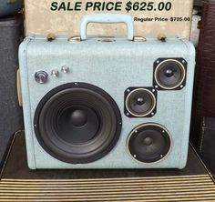 """SOLD Vintage Suitcase Boombox Rechargeable Battery MP3 Player """"CYCLOPS"""" by Hi-Fi Luggage Stereo Speaker Portable by HiFiLuggage on Etsy https://www.etsy.com/uk/listing/170433200/sold-vintage-suitcase-boombox"""